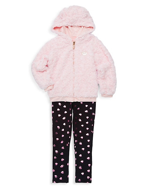 Little Girls 2Piece Faux Fur Jacket  Leggings Set