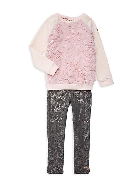 Little Girls 2Piece Rosette Sweater  Dotted Leggings Set