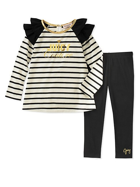 JUICY COUTURE | Little Girl's Two-Piece Striped Tunic and Leggings Set | Goxip