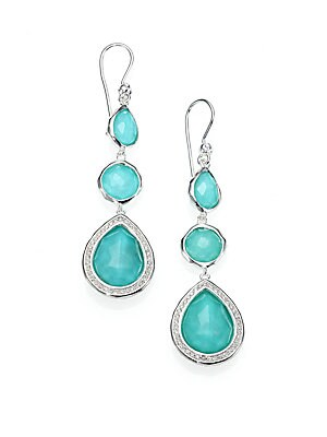 Ippolita Stella Turquoise Clear Quartz Diamond Sterling Silver Doublet Triple Drop
