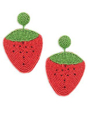 Kenneth Jay Lane Beaded Strawberry Drop Earrings