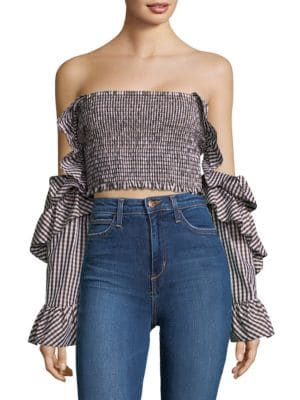 Petersyn Checked Off-The-Shoulder Top