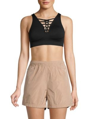 Nanette Lepore Racey Lacey Racerback Lace-Up Sports Bra