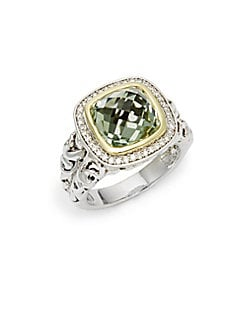 Charles Krypell - 14K White Gold, 18K Yellow Gold, Sterling Silver, Green Amethyst & Diamond Ring