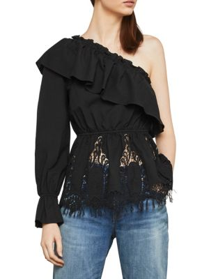 BCBGMAXAZRIA Ruffle Lace-Embroidered One-Shoulder Top in Black