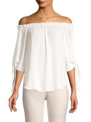 Bcbgmaxazria Off-The-Shoulder Tie Cuff Blouse