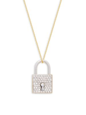 Roberto Coin 18K Yellow Gold, 18K White Gold & Diamond Locket Pendant Necklace