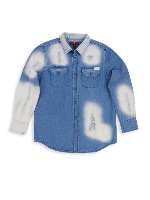 7 For All Mankind T-shirts LITTLE GIRL'S & GIRL'S OVERSIZED DENIM SHIRT
