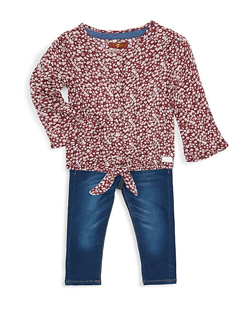 Little Girls 2Piece Floral Top  Jeans Set