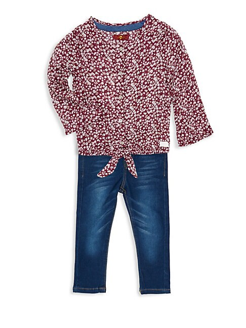 7 FOR ALL MANKIND | Baby Girl's Two-Piece Floral Tie Top & Jeans Set | Goxip
