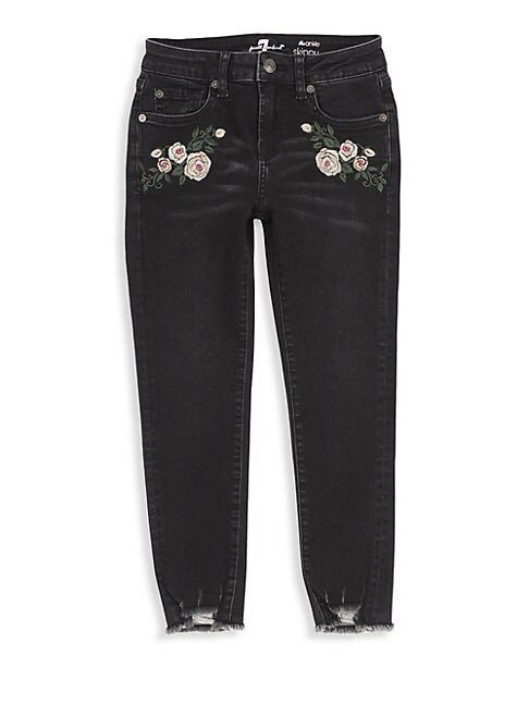7 FOR ALL MANKIND | Little Girl's & Girl's Floral Ankle Jeans | Goxip