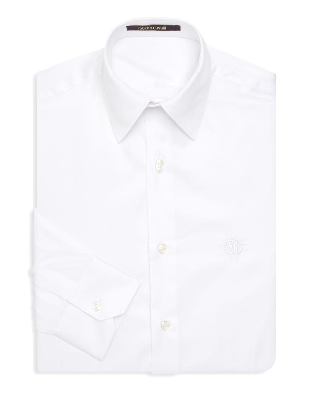 Roberto Cavalli Logo Embroidered Dress Shirt