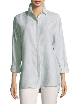2c729c4cb Lafayette 148 Alyssa Button-Front Shirt In Herbal Mist Multi | ModeSens