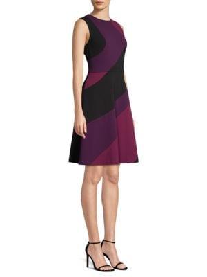 Donna Karan Swirl Panel Flared Dress