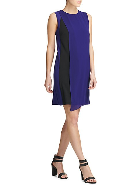 DONNA KARAN | Colorblock Shift Dress | Goxip