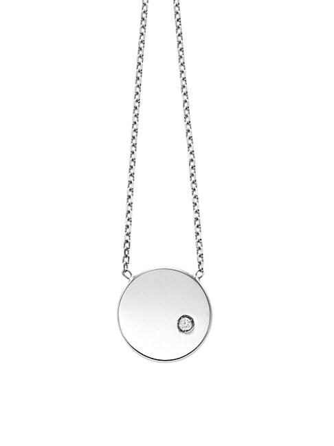 SAKS FIFTH AVENUE | 14K White Gold Diamond Circle Pendant Necklace | Goxip