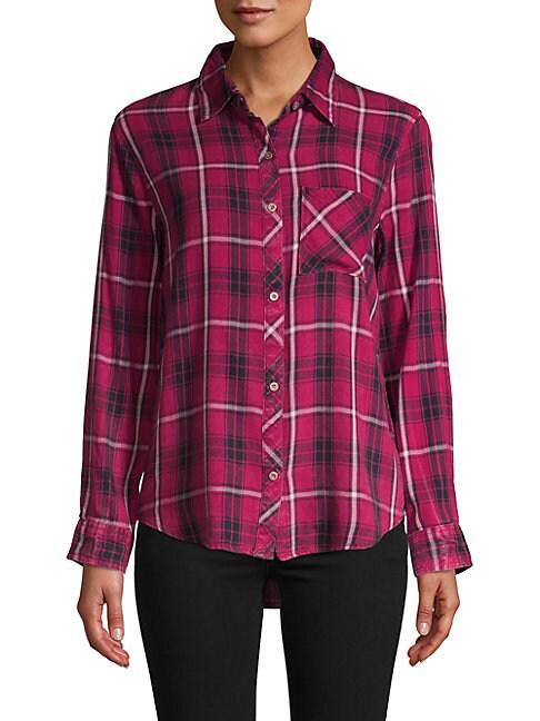 C&C CALIFORNIA Plaid Button-Down Shirt in Red