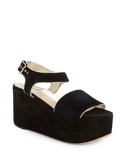 Lucrezia Metallic Leather-Trimmed Suede Wedge Sandals