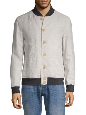 JOHN VARVATOS Aged Rib Trim Cotton & Linen Bomber Jacket