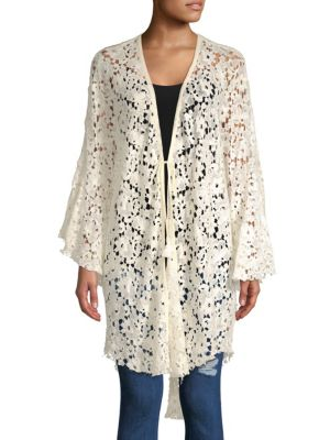 Tie-Front Lace Topper, Ivory