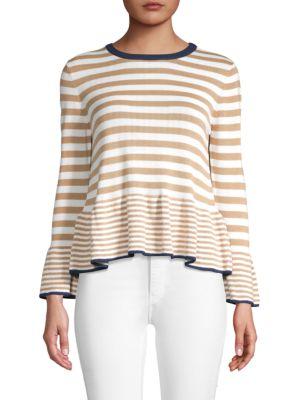 English Factory Striped Ruffled-Hem Sweater