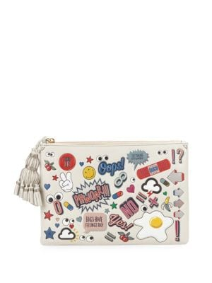 Anya Hindmarch Graphic Tassel Leather Pouch