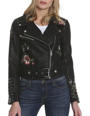 Driftwood Floral Embroidered Studded Moto Jacket