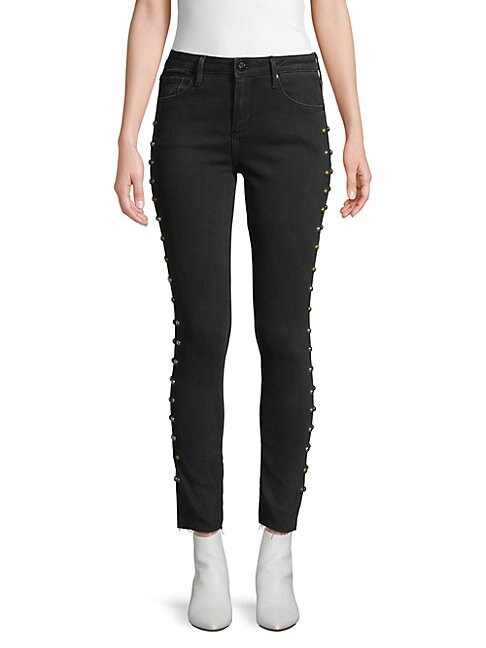 DRIFTWOOD   Jackie Studded Skinny-Fit Jeans   Goxip