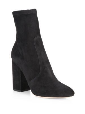 Valentino Suede Block Heel Booties