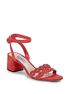 22802f2f0 Product image. QUICK VIEW. Prada. Corallo Block Heel Sandals