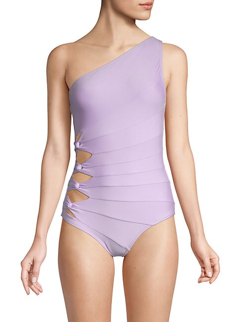 CARMEN MARC VALVO   One-Piece One-Shoulder Swimsuit   Goxip