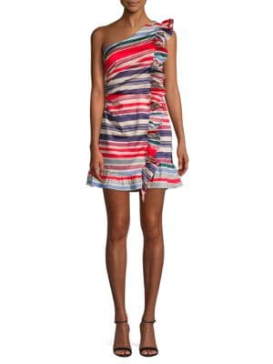 Red Carter Ruffled Striped Shift Dress