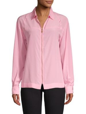 Tomas Maier Zip-Up Collared Silk Blouse