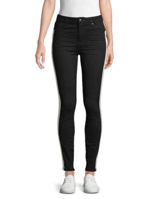 Mid-Rise Skinny Track Jeans in Black