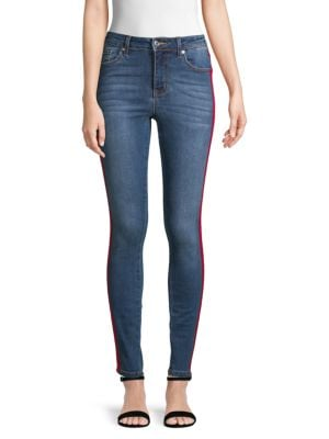 Mid-Rise Skinny Track Jeans in Blue
