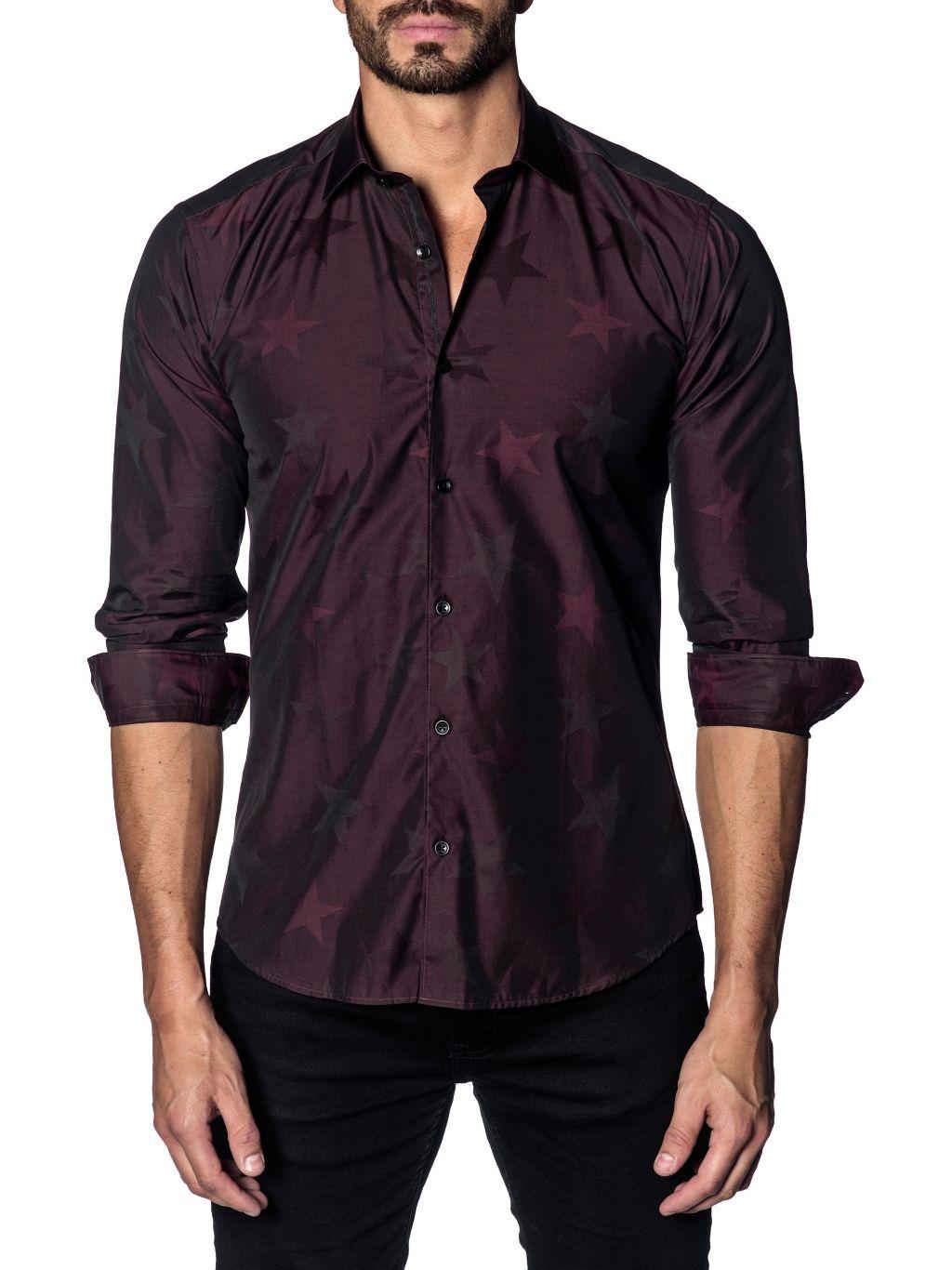 Jared Lang Star-Print Trim-Fit Button-Down Shirt