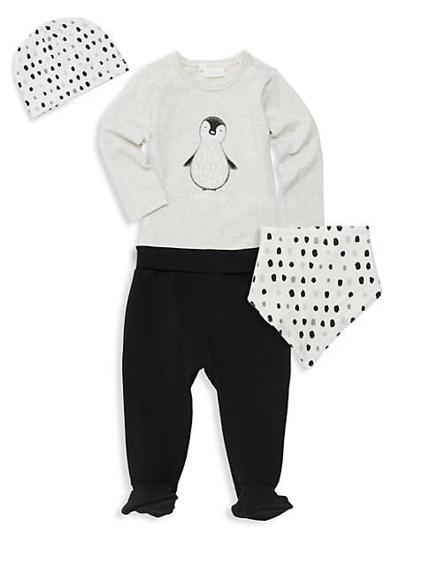 Babys 4Piece Penguin Top Pants Bib  Beanie Set