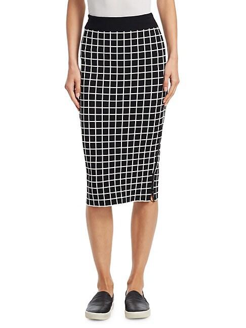 AKRIS PUNTO | Grid Pattern Midi Pencil Skirt | Goxip