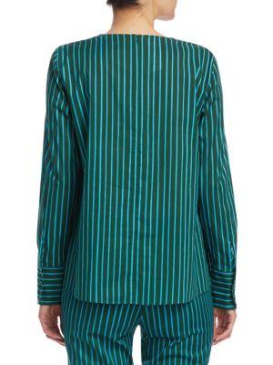 AKRIS PUNTO Cottons Striped A-Line Shirt