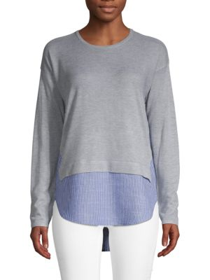 DESIGN HISTORY Mixed-Media Roundneck Sweater in Grey