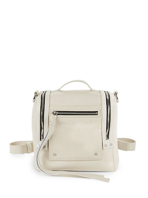 Multi-Zip Leather Backpack, Ivory