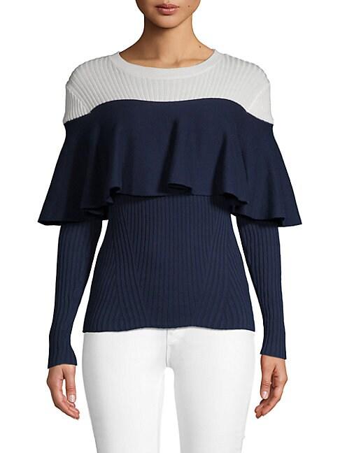 ALCEE | Ruffled Contrast Cotton Sweater | Goxip