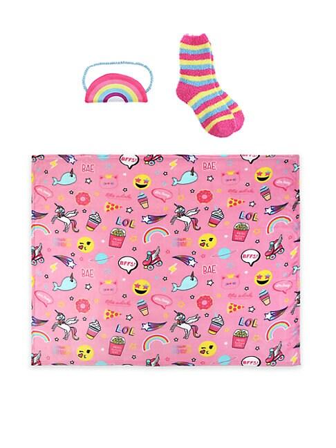 Girl'sThree-Piece Eye Mask, Socks, and Throw Set