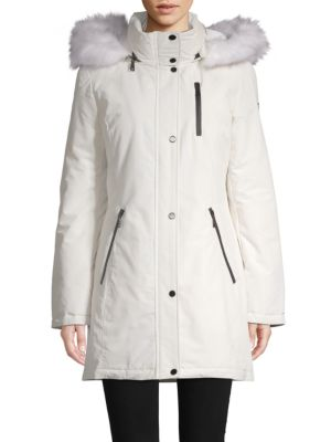 Tahari Whitney Faux Fur-Trimmed Hooded Coat