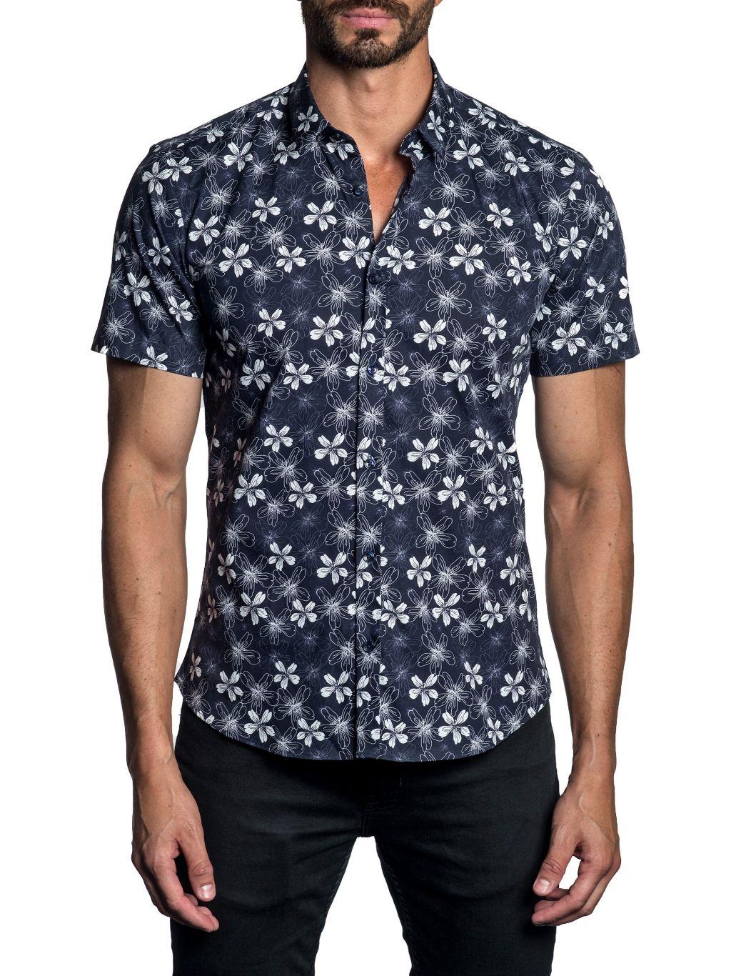 Jared Lang Trim-Fit Floral Button-Down Shirt