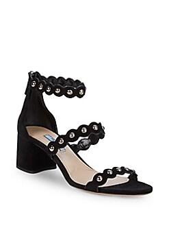 a5baef7f3 QUICK VIEW. Prada. Studded Triple Strap Block Heel Sandals/2