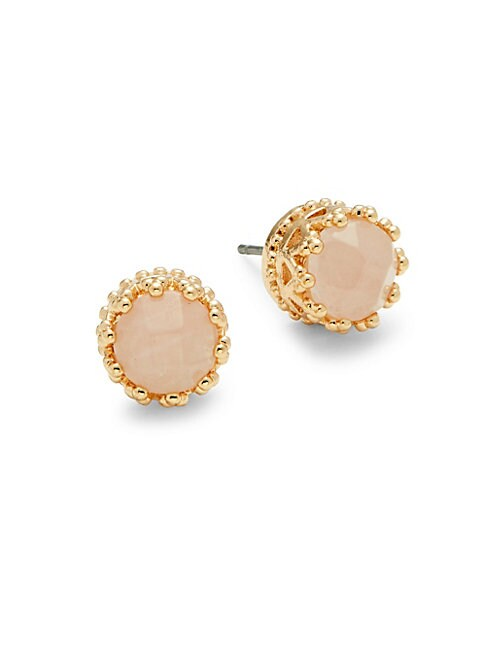 AVA & AIDEN | Pink Quartz Crown Stud Earrings | Goxip