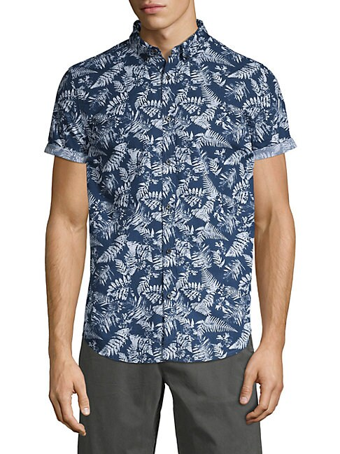 SUPERDRY   Leaf-Print Button-Down Shirt   Goxip