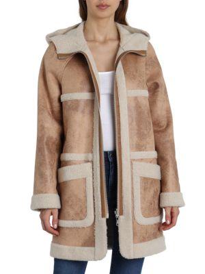 Avec Les Filles Reversible Sherpa and Faux Leather Coat