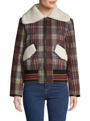 Allison New York Plaid Faux Fur Trim Bomber Jacket